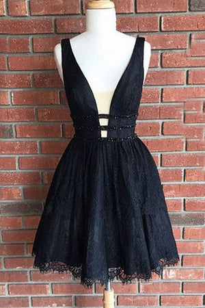 Beautiful Short V-neck Black Lace Beading Homecoming Dresses Party Dresses Z1236