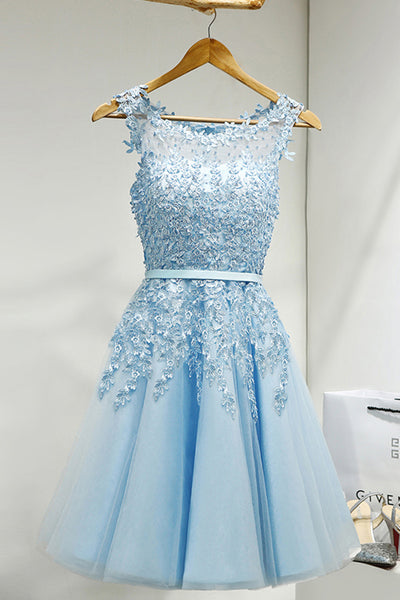 Charming Sky Blue Lace Beading Tulle Short Cute Homecoming Dresses Z1237