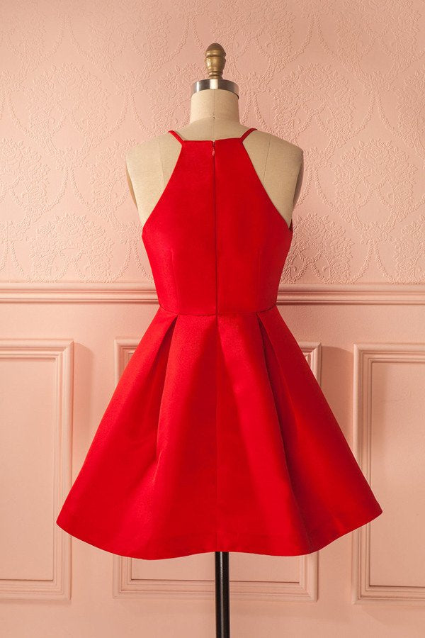 Simple Cheap A-line Spaghetti Straps Red Cute Homecoming Dresses Z1240