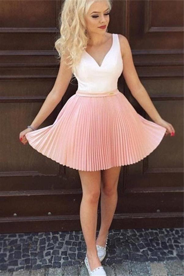 White And Pink Short A-line V-neck Ruffles Simple Pretty Homecoming Dresses Z1242