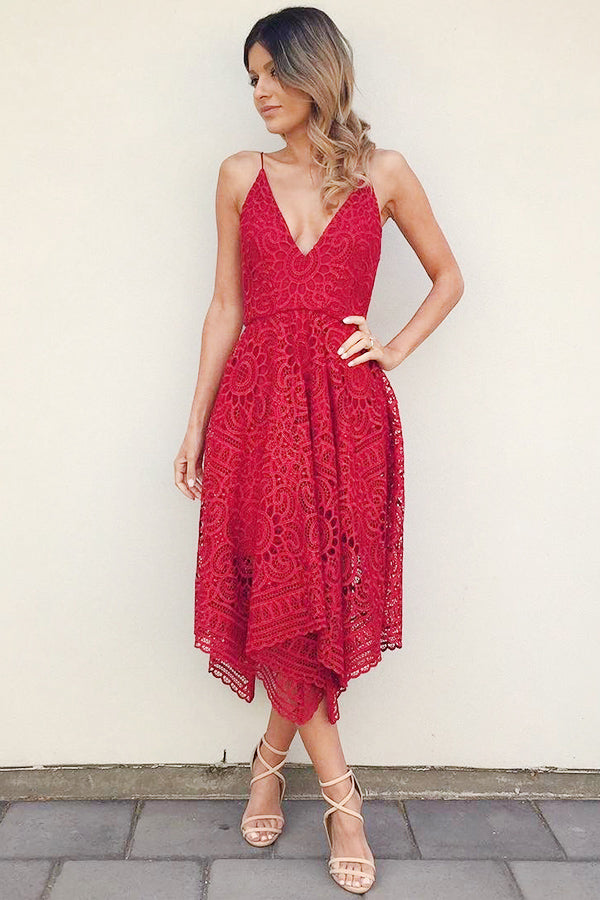 Spaghetti Straps Red Lace Tea Length A-line Simple Homecoming Dresses Z1243