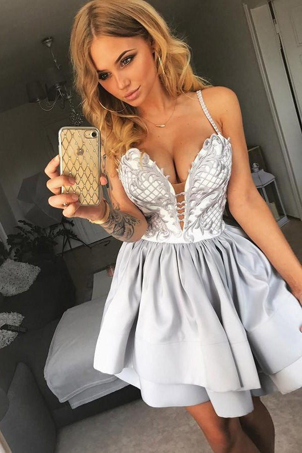 Spaghetti Straps Silver Lace Satin Homecoming Dresses Party Dresses Z1252