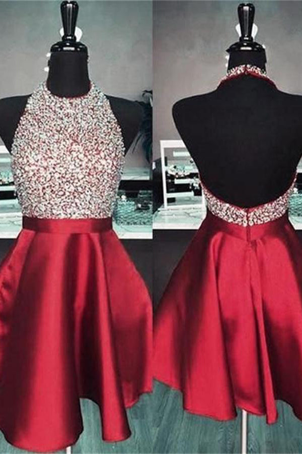 Sparkly Red Halter Beading Satin Short Homecoming Dresses With Pockets Z1253