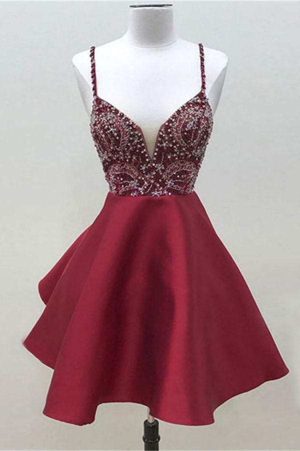 Modest Spaghetti Straps Short A-line Beading Satin Burgundy Homecoming Dresses Z1255