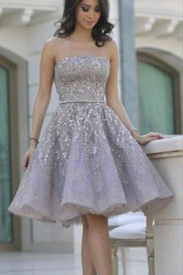 Strapless Lace Beading Sparkly Modest Short Homecoming Dresses Z1257