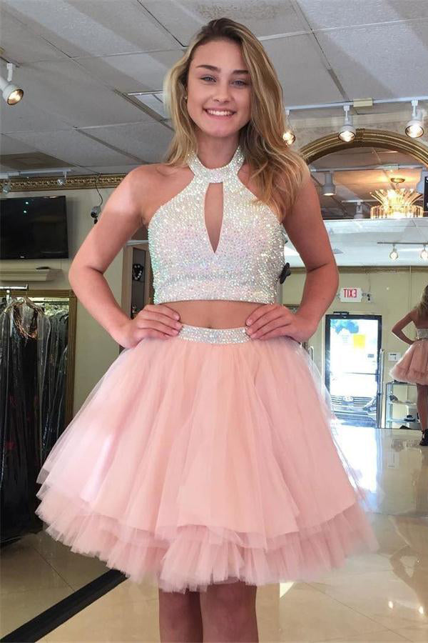 Pretty 2 Pieces Pink Beading Short Homecoming Dresses For Teens Z1259