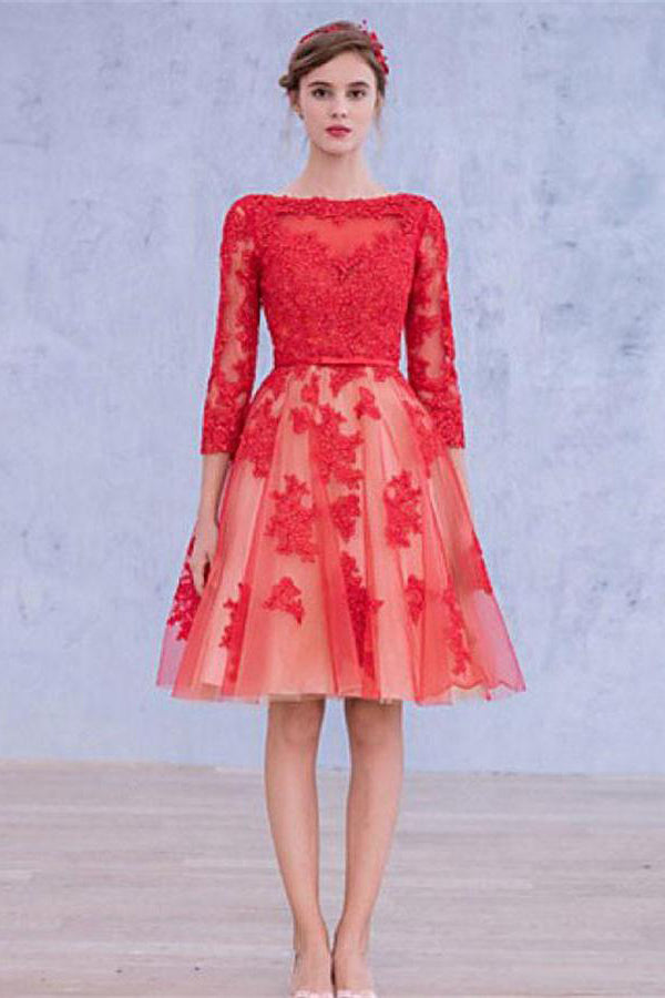 Formal Red Lace Up Open Back Lace Homecoming Dresses With Sleeves Z1260