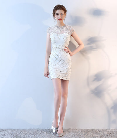 Charming Sheath Beautiful Black Beading Open Back Homecoming Dresses Z1263