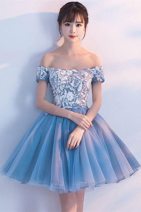 Elegant Off The Shoulder Lace Tulle Blue Short Homecoming Dresses Z1264