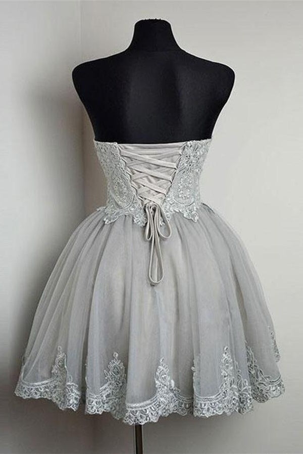 Modest Simple Sweetheart Lace Up Elegant Short Homecoming Dresses Z1268