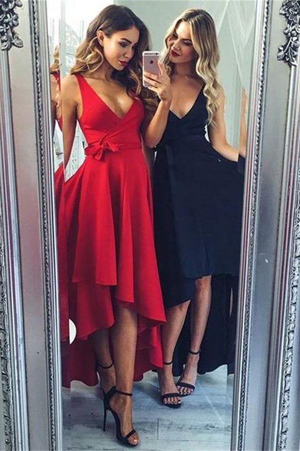 High Low Simple Sexy V-neck Homecoming Dresses Prom Dresses Z1269