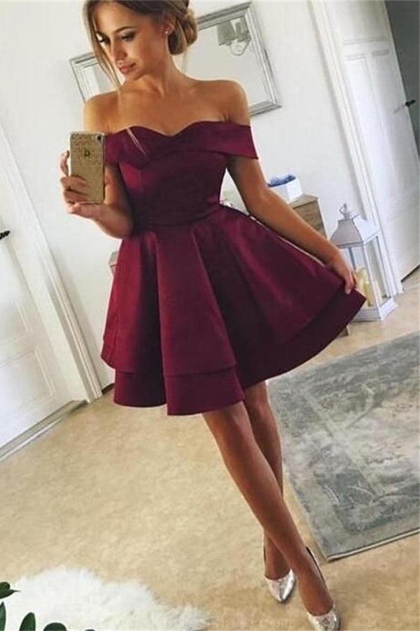 Pretty Elegant Simple Cheap Off The Shoulder Short Homecoming Dresses Z1272