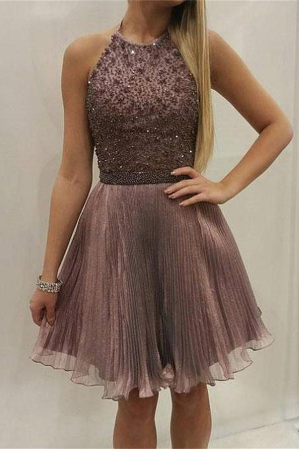 Halter Beading Open Back Short Homecoming Dresses Party Dresses Z1278