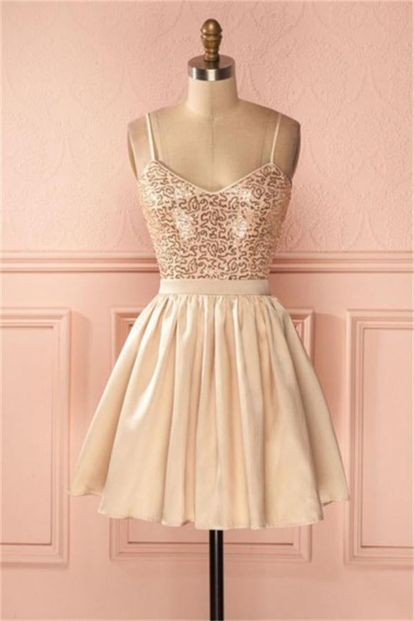 Spaghetti Straps Short Cute Simple Sparkly Homecoming Dresses Z1281