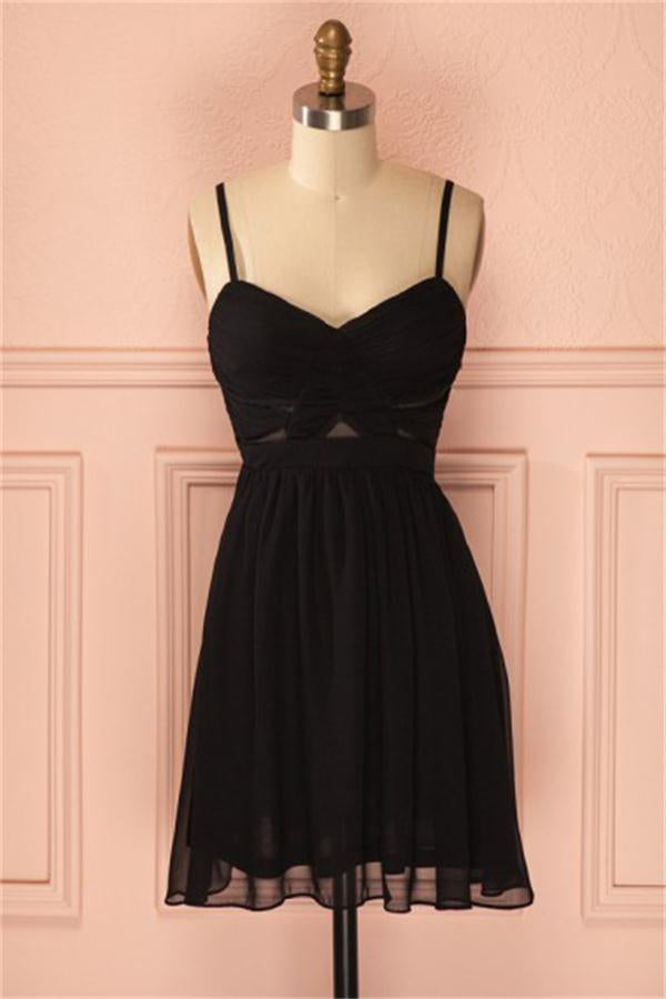 Spaghetti Straps Simple Cheap Black Chiffon Homecoming Dresses Z1282