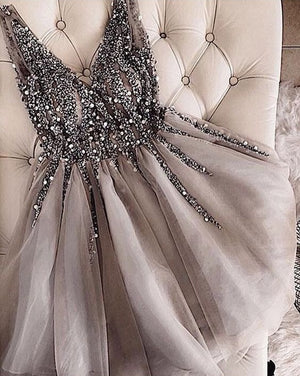 Sparkly Short Grey Tulle Beading Homecoming Dresses For Teens Prom Dresses Z1285