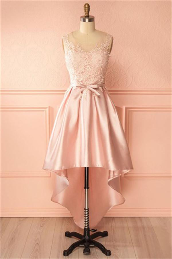 Girly Pink Lace High Low Simple Cheap Homecoming Dresses For Teens Z1284