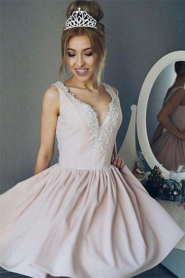 Cute V-neck Beading Simple Elegant Pink Short Homecoming Dresses Z1291