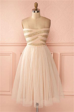 Strapless Simple Flow Pink Homecoming Dresses Short Prom Dresses Z1292
