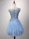Beautiful Cute Zipper Back Light Blue Lace Tulle Short Homecoming Dresses Z1294