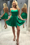 Simple Cheap Green Open Back Short Cute Homecoming Dresses For Teens Z1295
