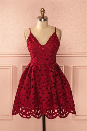 V-neck Spaghetti Straps Short Red Lace Modest Homecoming Dresses Z1300