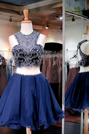 Pretty Blue 2 Pieces Short A-line Beading Homecoming Dresses For Teens Z1305