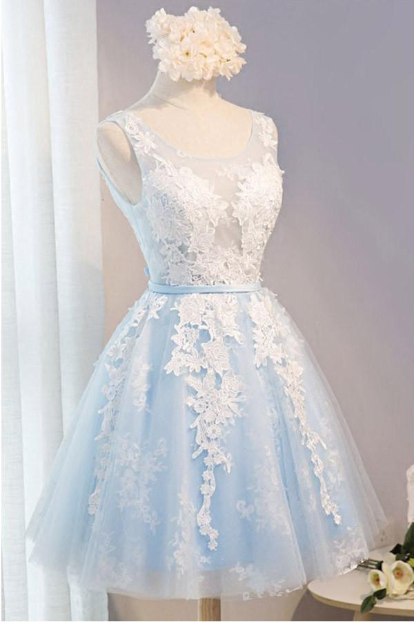 Elegant Light Blue And Ivory Lace Short Simple Homecoming Dresses Z1306