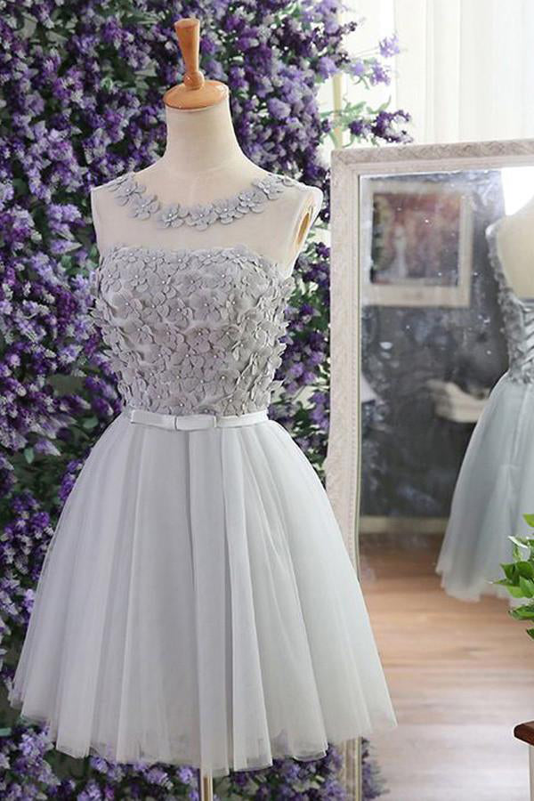 a63f0f3d9a Pretty Gray Scoop Neckline Lace Up Gray Simple Short Homecoming Dresses  Z1307