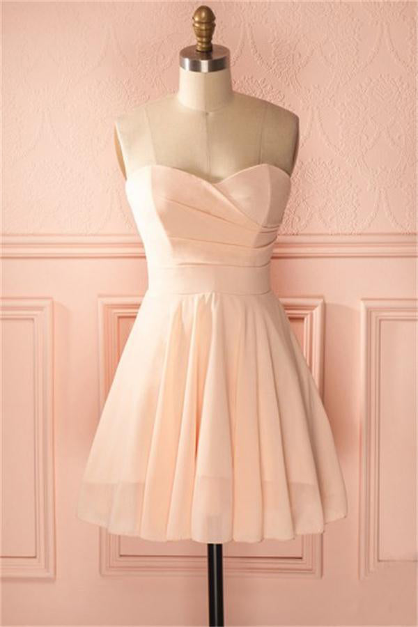 Cute Sweetheart Simple Cheap Pink Homecoming Dresses Bridesmaid Dresses Z1308