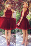 Lovely Burgundy Short Beading Tulle Cute A-line Homecoming Dresses Z1311