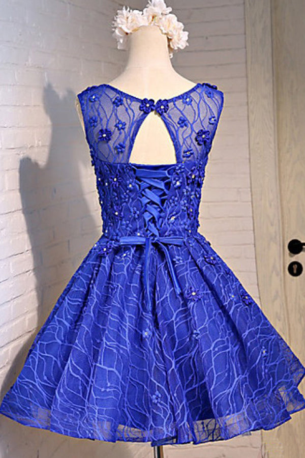 Sparkly Royal Blue Open Back Lace Up Beading A-line Homecoming Dresses Z1312