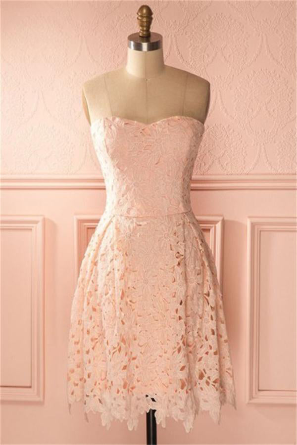 Pink A-line Lace Homecoming Dresses For Teens Short Prom Dresses Z1314