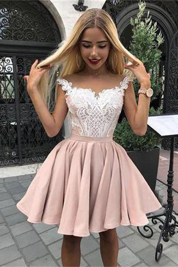 Ivory And Pink Short Lace Beautiful Homecoming Dresses For Girls Z1316
