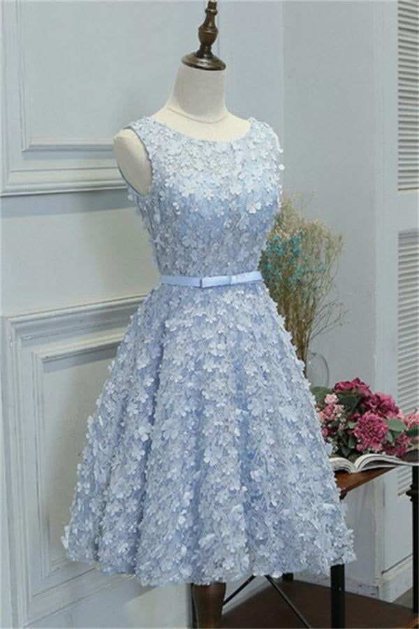 Charming Sky Blue Lace Short A-line Homecoming Dresses Party Dresses Z1318