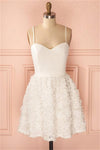 Cute Ivory Spaghetti Straps Simple Elegant Short Homecoming Dresses Z1319