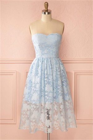 Tea Length Sky Blue Lace Sweetheart A-line Homecoming Dresses For Teens Z1320