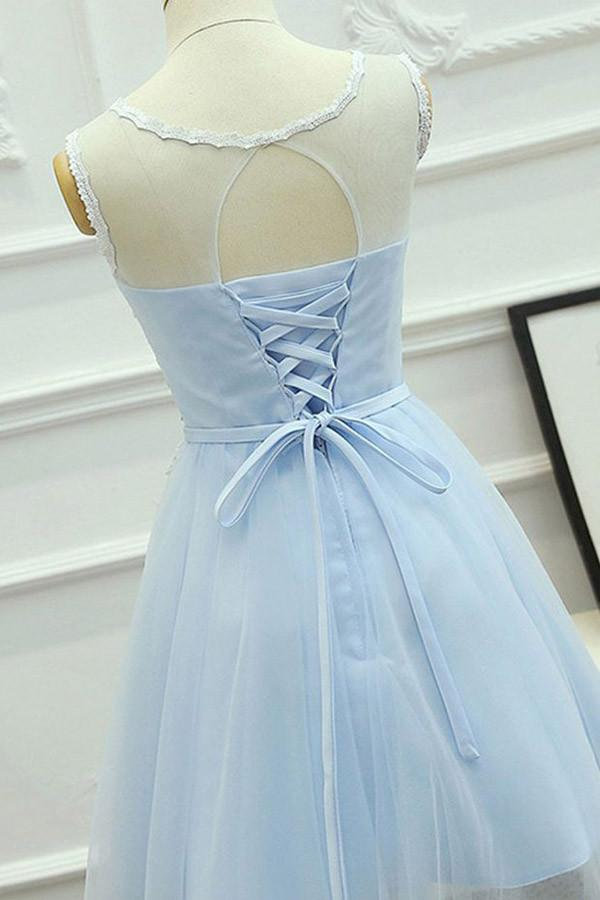 Pretty Elegant Short A-line Lace Tulle Backless Homecoming Dresses Z1324