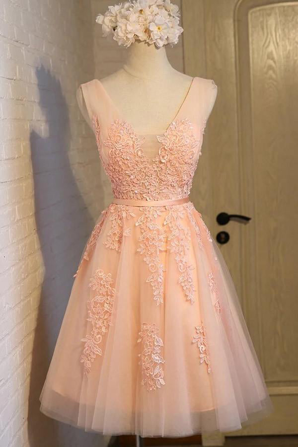 Orange A-line Lace Tulle Beading V-neck Short Homecoming Dresses Z1328
