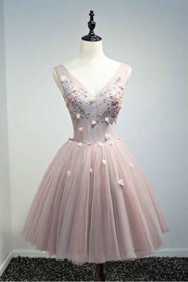 V-neck Simple Cheap Elegant Pink Lace Up Short Homecoming Dresses Z1329