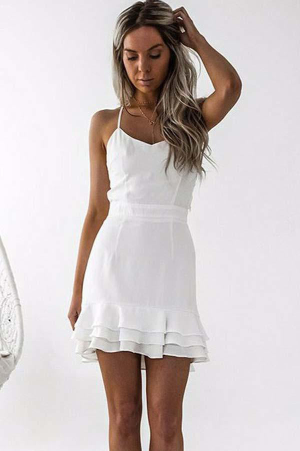Spaghetti Straps Short Open Back Simple Ivory Homecoming Dresses Z1332