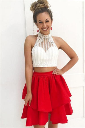2 Pieces Red And Ivory Beading Short A-line Homecoming Dresses For Teens Z1334
