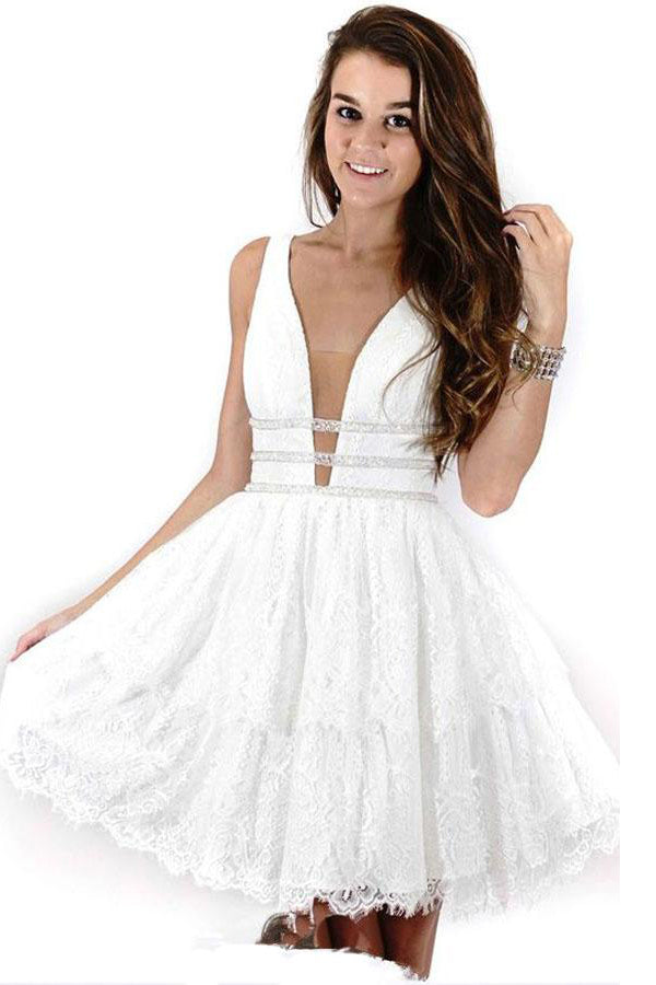 White V-neck Lace Beading A-line Homecoming Dresses Party Dresses Z1335