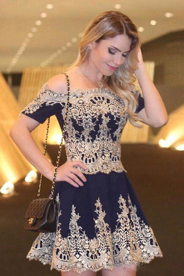 Formal Lace Cocktail Dresses Off The Shoulder Navy Blue Homecoming Dresses Z1340