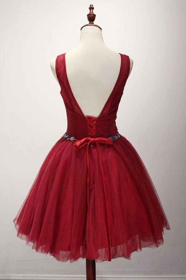 Red Simple Cheap Elegant Lace Up Short Tulle Homecoming Dresses Z1341
