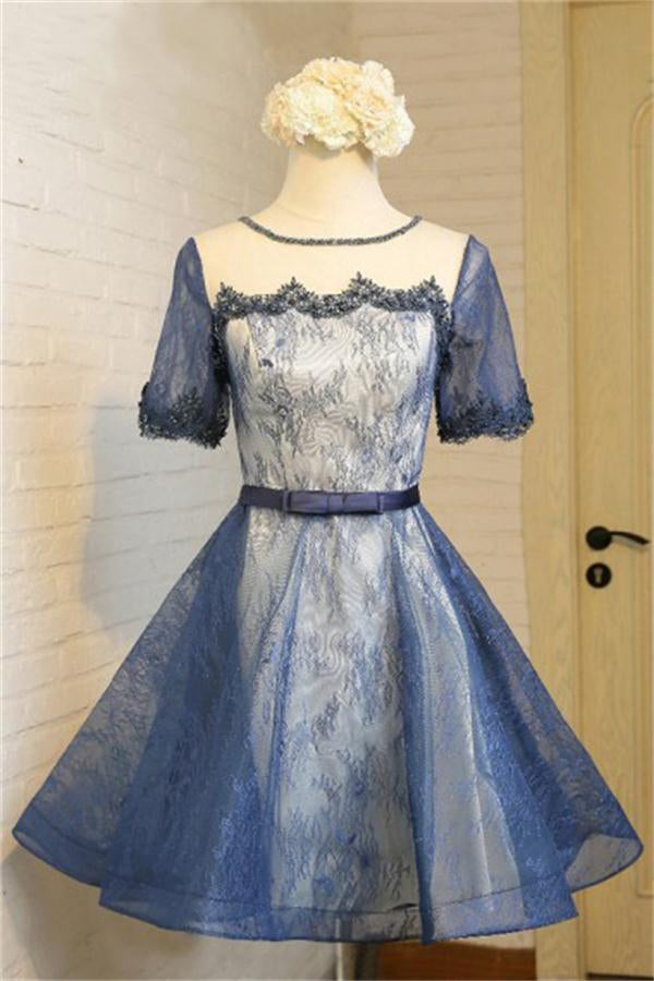 Short Sleeves Scoop Neckline Navy Blue Lace Short Homecoming Dresses Z1342