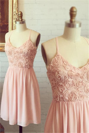 Cute Spaghetti Straps Pink Chiffon A-line Simple Cheap Homecoming Dresses Z1343