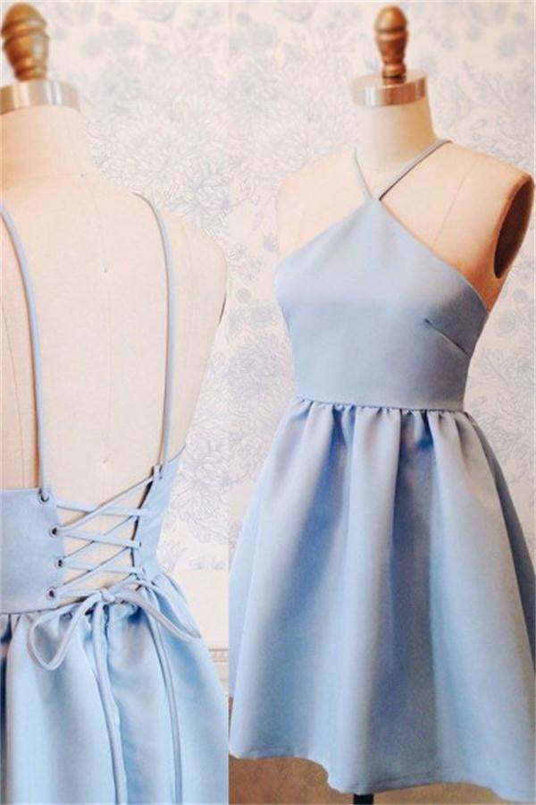 Spaghetti Straps Sky Blue Satin Lace Up Backless Short Homecoming Dresses Z1344