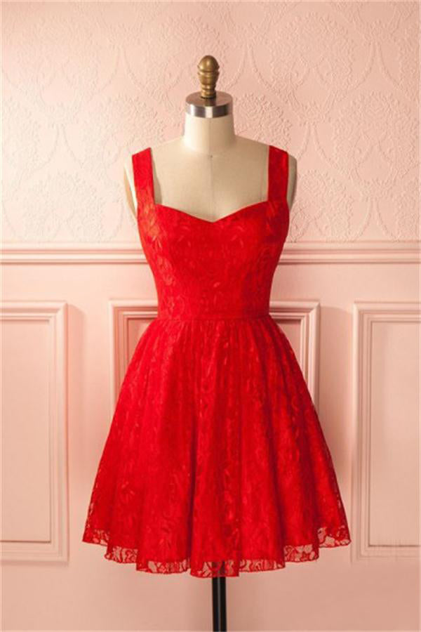 Vintage Red Lace Short Cute Homecoming Dresses For Teens Z1346