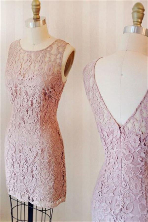 Sheath Pink Lace Scoop Neckline Open Back Short Simple Homecoming Dresses Z1351